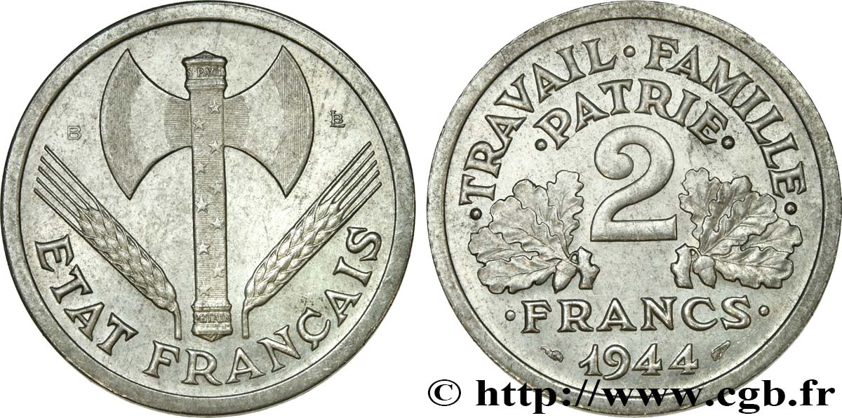 2 francs Francisque 1944 Beaumont-Le-Roger F.270/5 SUP58