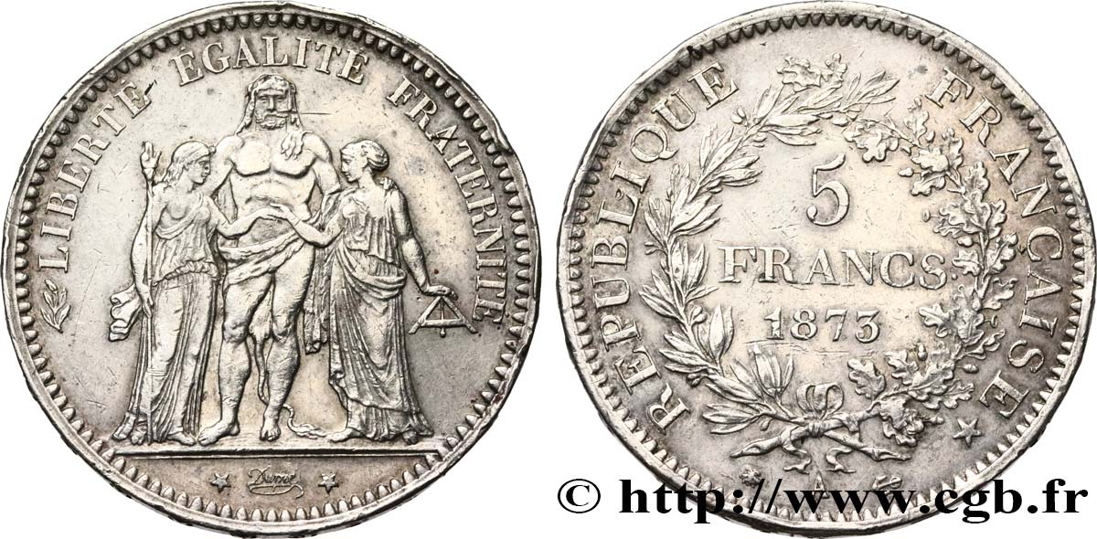 5 francs Hercule 1873 Paris F.334/9 XF