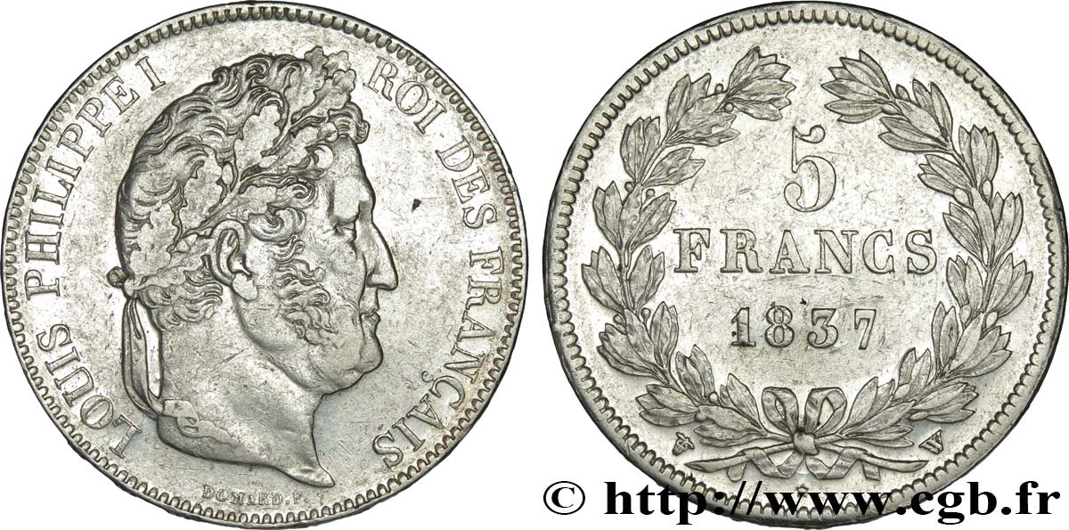 5 francs IIe type Domard 1837 Lille F.324/67 TTB