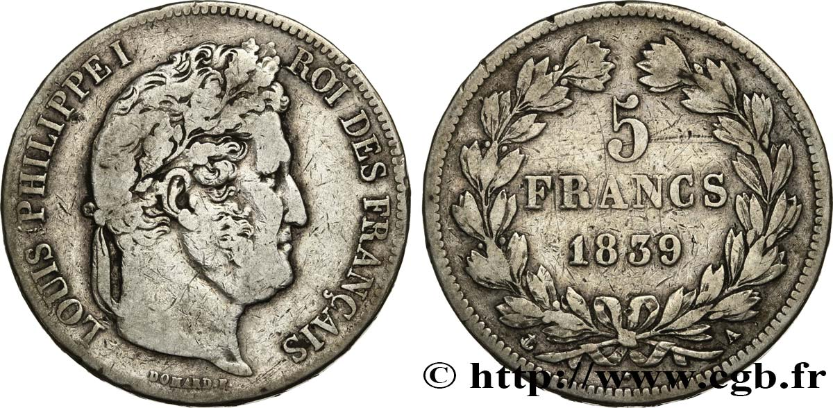 5 francs, IIe type Domard 1839 Paris F.324/75 TB