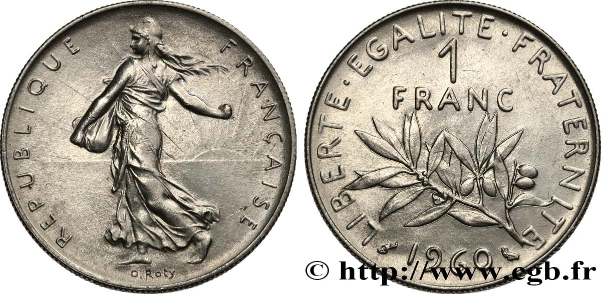 1 franc Semeuse, nickel 1960 Paris F.226/4 SUP62