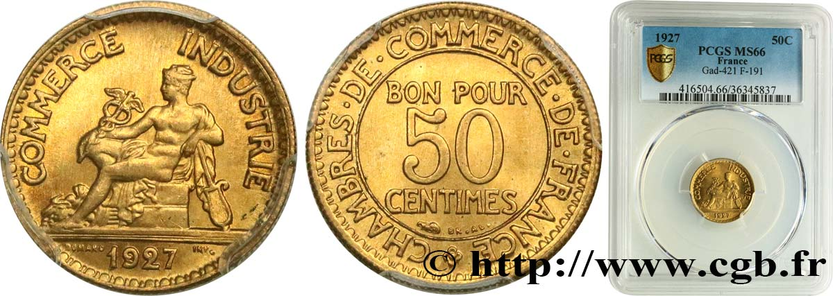 50 centimes Chambres de Commerce 1927 Paris F.191/9 FDC66 PCGS