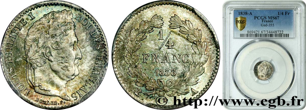 1/4 franc Louis-Philippe 1838 Paris F.166/69 FDC67 PCGS