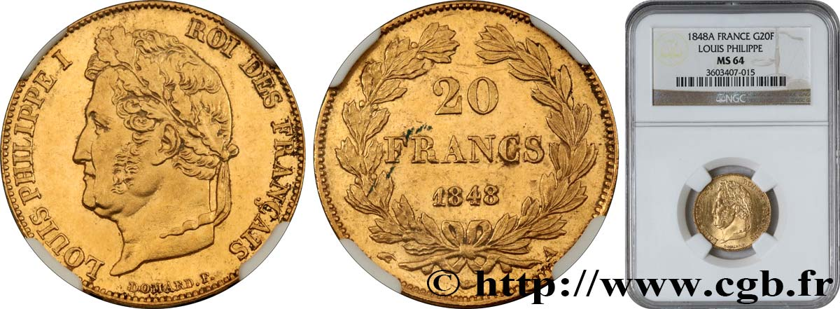 20 francs or Louis-Philippe, Domard 1848 Paris F.527/38 SPL64 NGC
