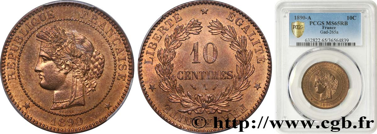 10 centimes Cérès 1890 Paris F.135/35 MS65 PCGS