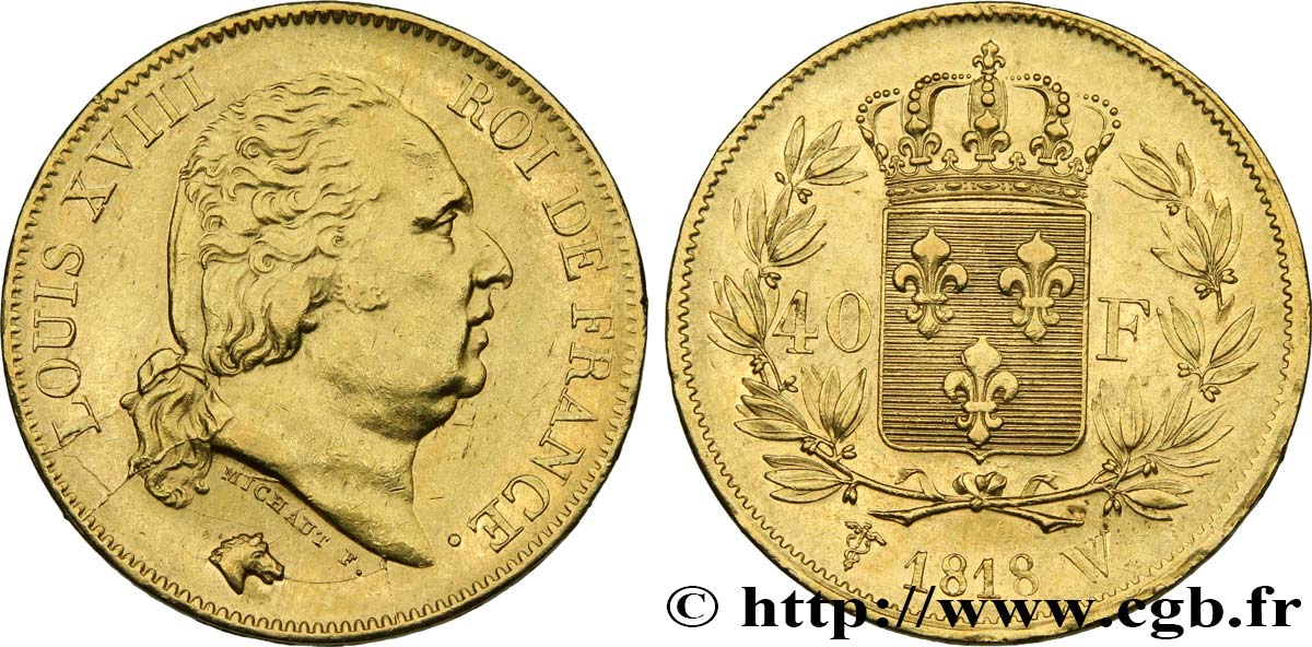 40 francs or Louis XVIII 1818 Lille F.542/8 SUP