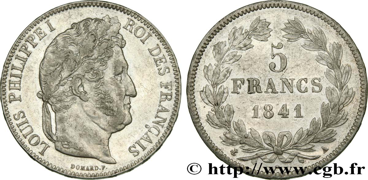 5 francs, IIe type Domard 1841 Paris F.324/90 AU50