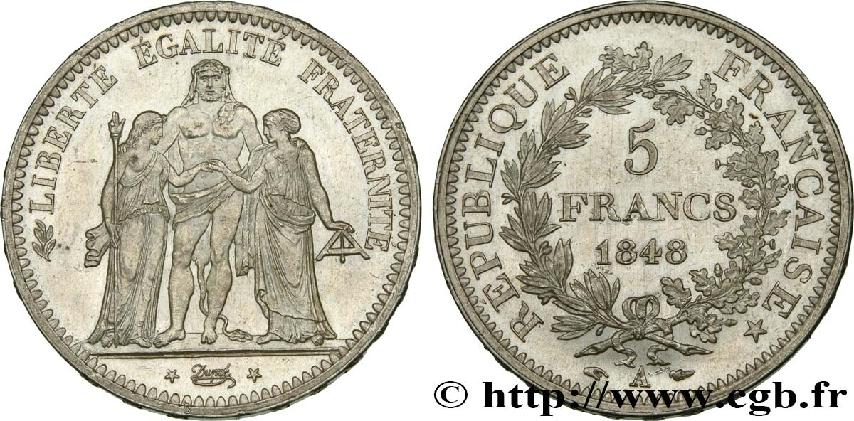 5 francs Hercule, IIe République 1848 Paris F.326/1 SPL63
