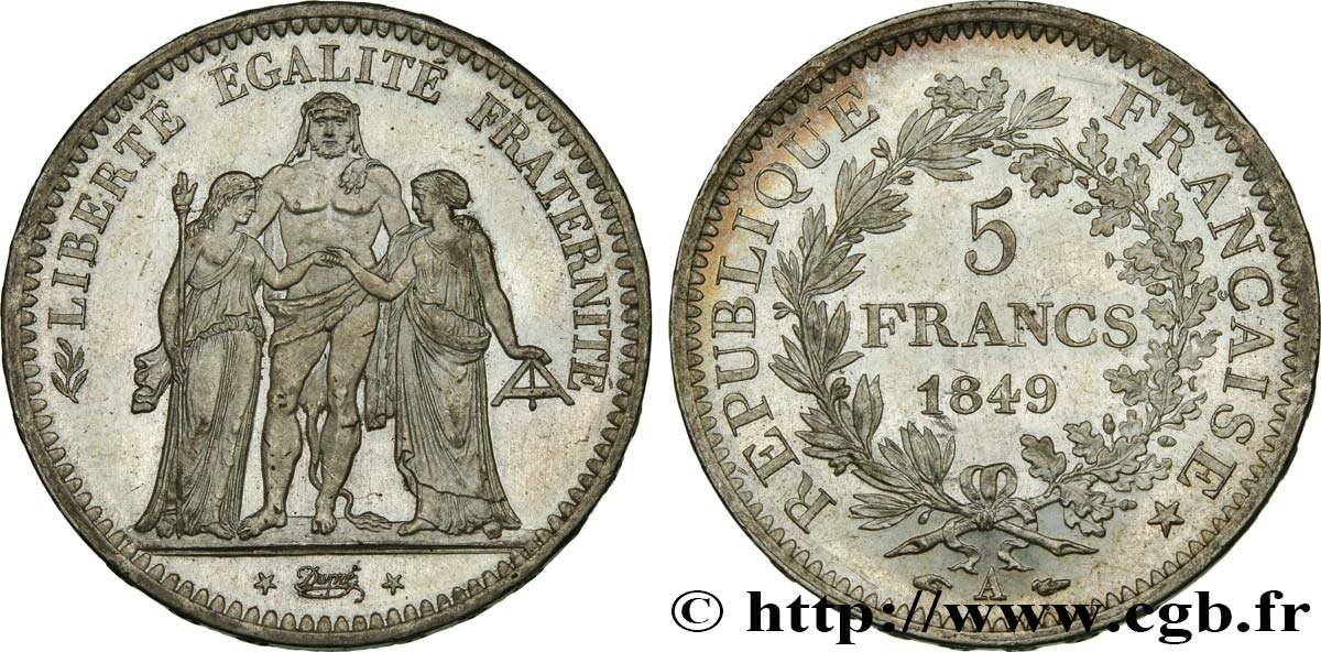 5 francs Hercule, IIe République 1849 Paris F.326/5 SUP62