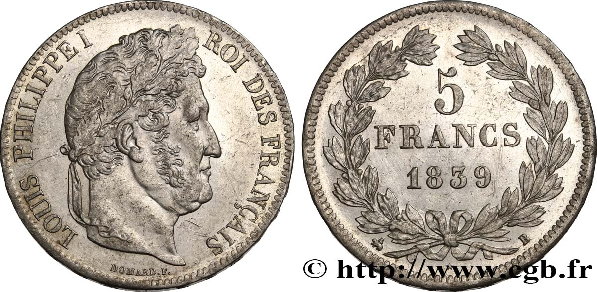 5 francs IIe type Domard 1839 Rouen F.324/76 SUP58