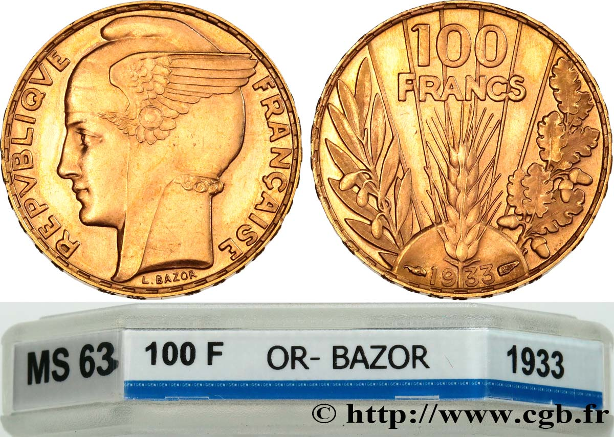 100 francs or, Bazor 1933 Paris F.554/4 fST63 GENI
