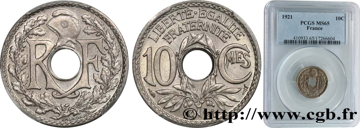 10 centimes Lindauer 1921  F.138/5 FDC65 PCGS