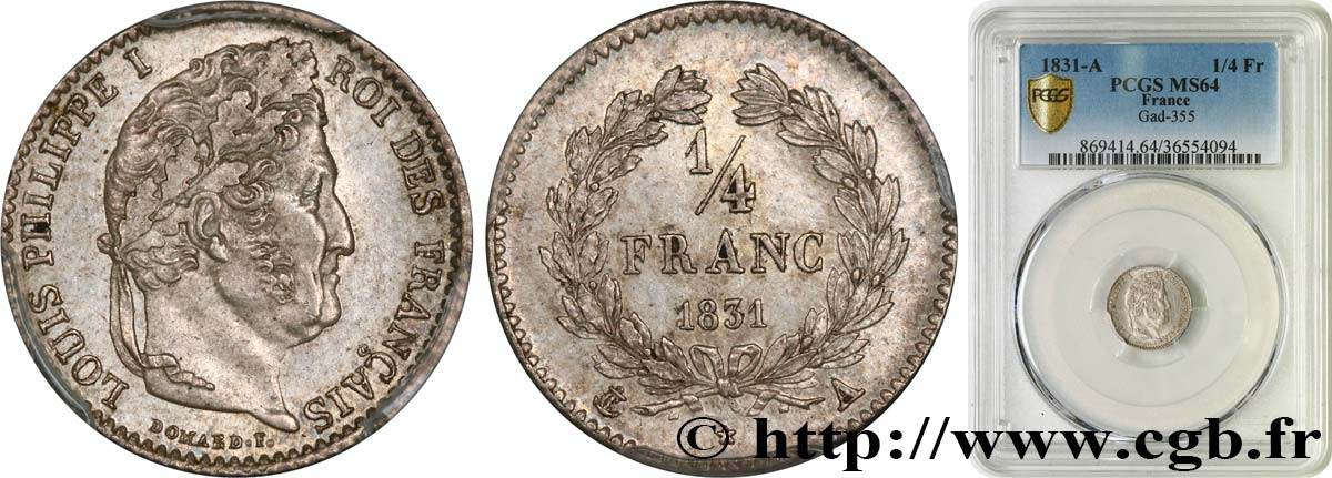 1/4 franc Louis-Philippe 1831 Paris F.166/1 SPL64 PCGS