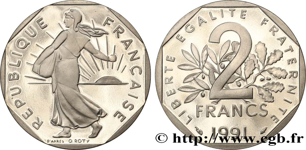 2 francs Semeuse, nickel, BE (Belle Épreuve) 1991 Pessac F.272/15 var. MS