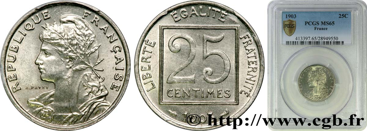 25 centimes Patey, 1er type 1903  F.168/3 FDC65 PCGS