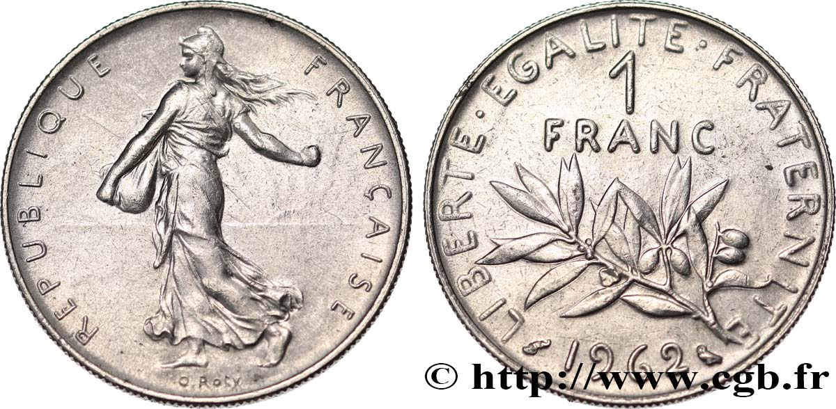 1 franc Semeuse, nickel 1962 Paris F.226/7 SUP58