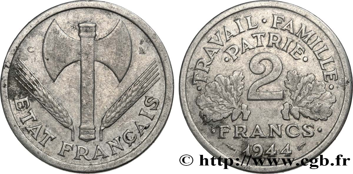2 francs Francisque 1944 Castelsarrasin F.270/6 TB35