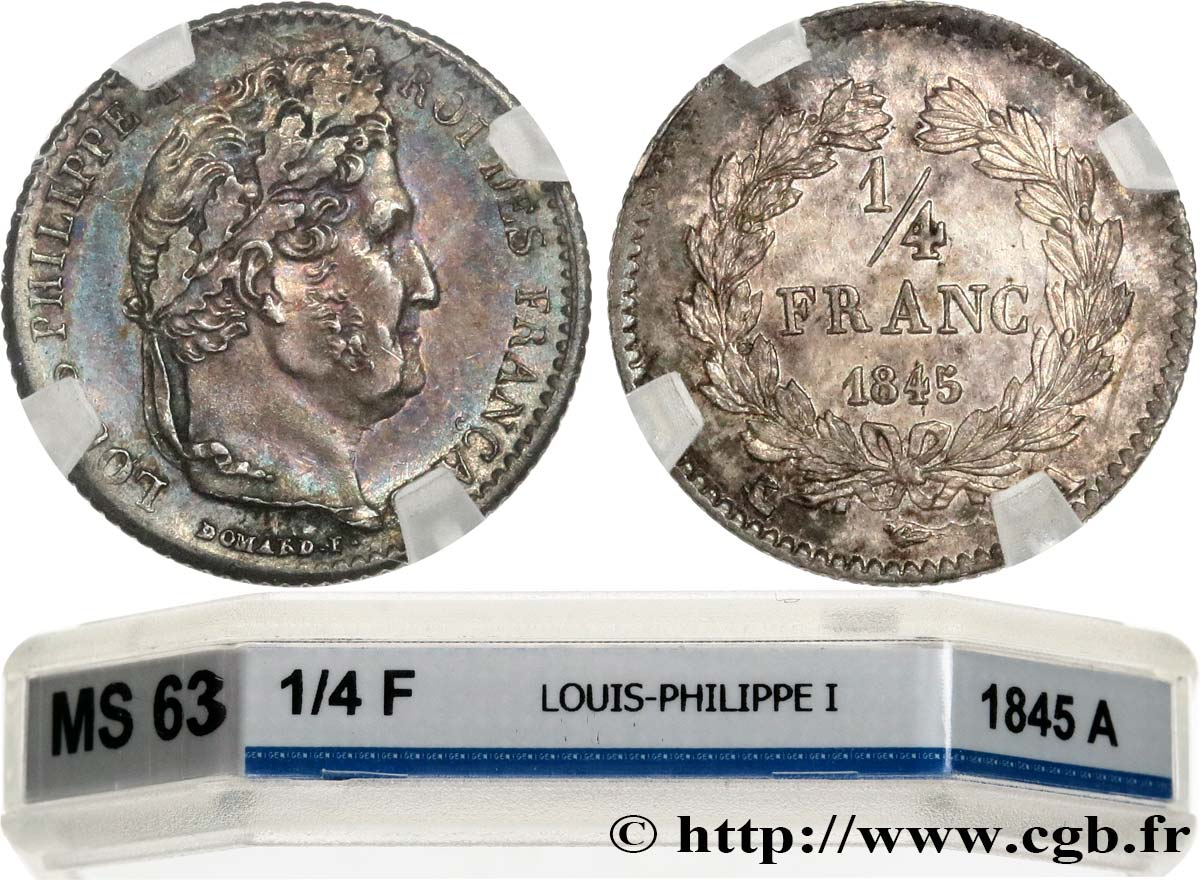 1/4 franc Louis-Philippe 1845 Paris F.166/102 SPL63 GENI
