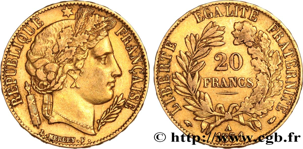 20 francs or Cérès 1851 Paris F.529/4 TB35