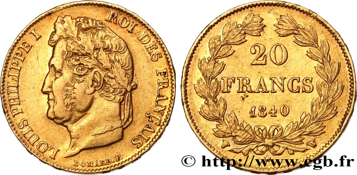 20 francs or Louis-Philippe, Domard 1840 Lille F.527/23 TTB40