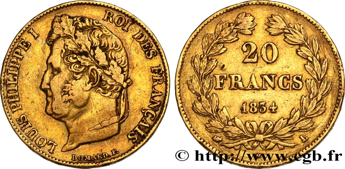 20 francs or Louis-Philippe, Domard 1834 Bayonne F.527/9 TB35