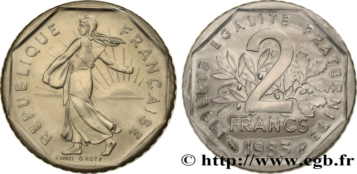 2 francs Semeuse, nickel 1983 Pessac F.272/7 MS