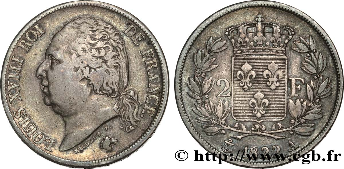 2 francs Louis XVIII 1822 Paris F.257/36 TB35