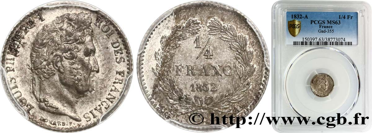 1/4 franc Louis-Philippe 1832 Paris F.166/14 SPL63 PCGS