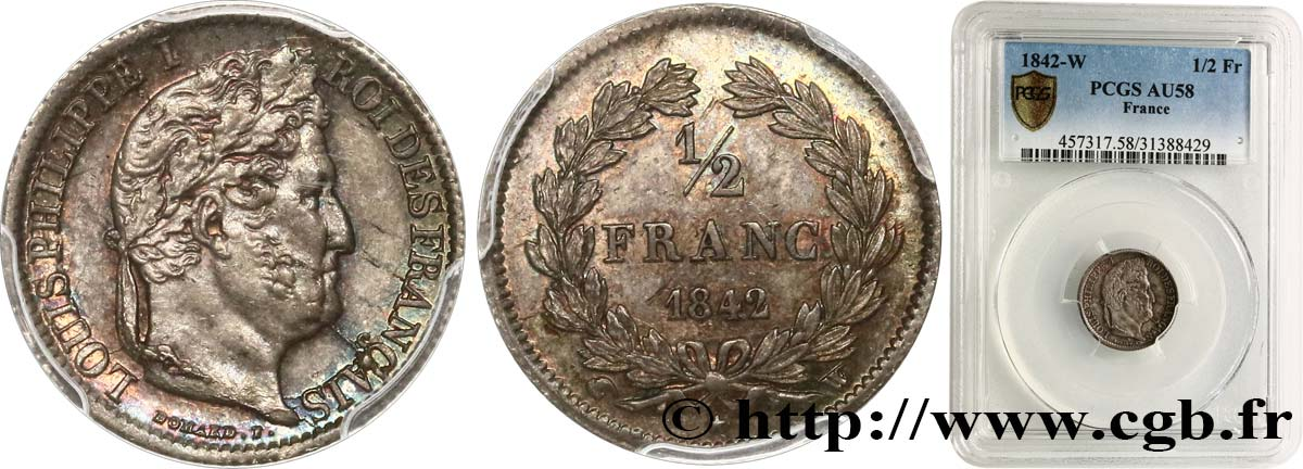 1/2 franc Louis-Philippe 1842 Lille F.182/97 SUP58 PCGS