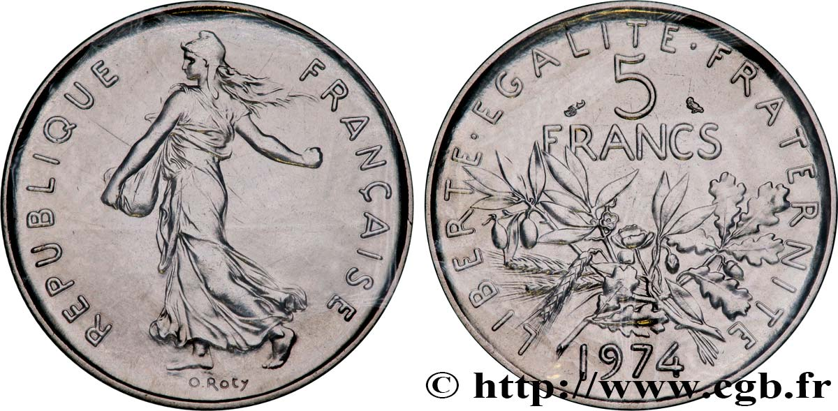 5 francs Semeuse, nickel 1974 Pessac F.341/6 MS