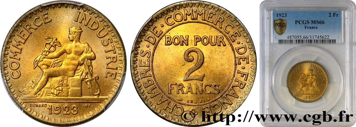 2 francs Chambres de Commerce 1923  F.267/5 MS66 PCGS