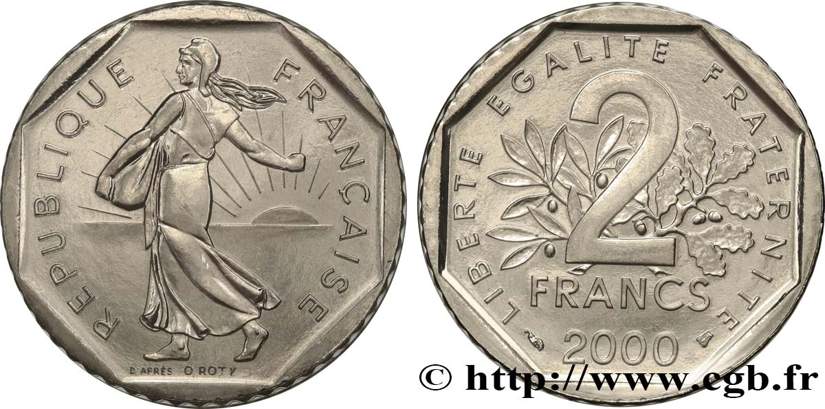 2 francs Semeuse, nickel 2000 Pessac F.272/28 MS