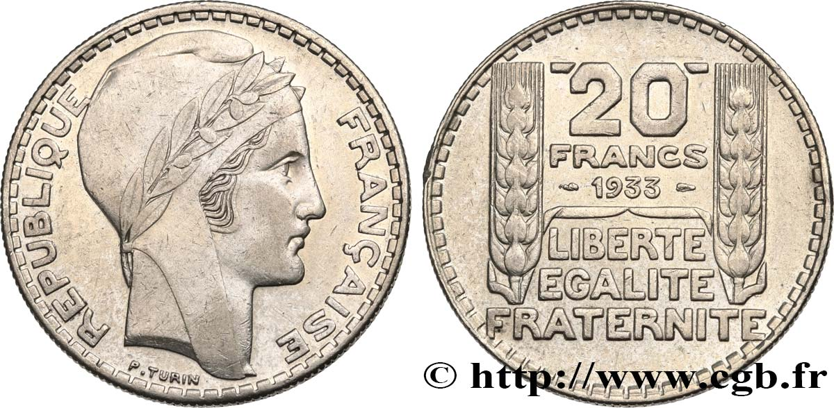 20 francs Turin, rameaux courts 1933  F.400A/1 XF