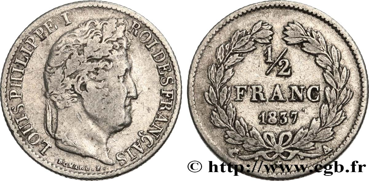 1/2 franc Louis-Philippe 1837 Paris F.182/66 TB