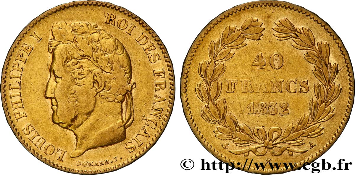 40 francs or Louis-Philippe 1832 Paris F.546/3 TB+