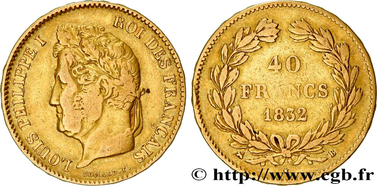 40 francs or Louis-Philippe 1832 Rouen F.546/4 TB25