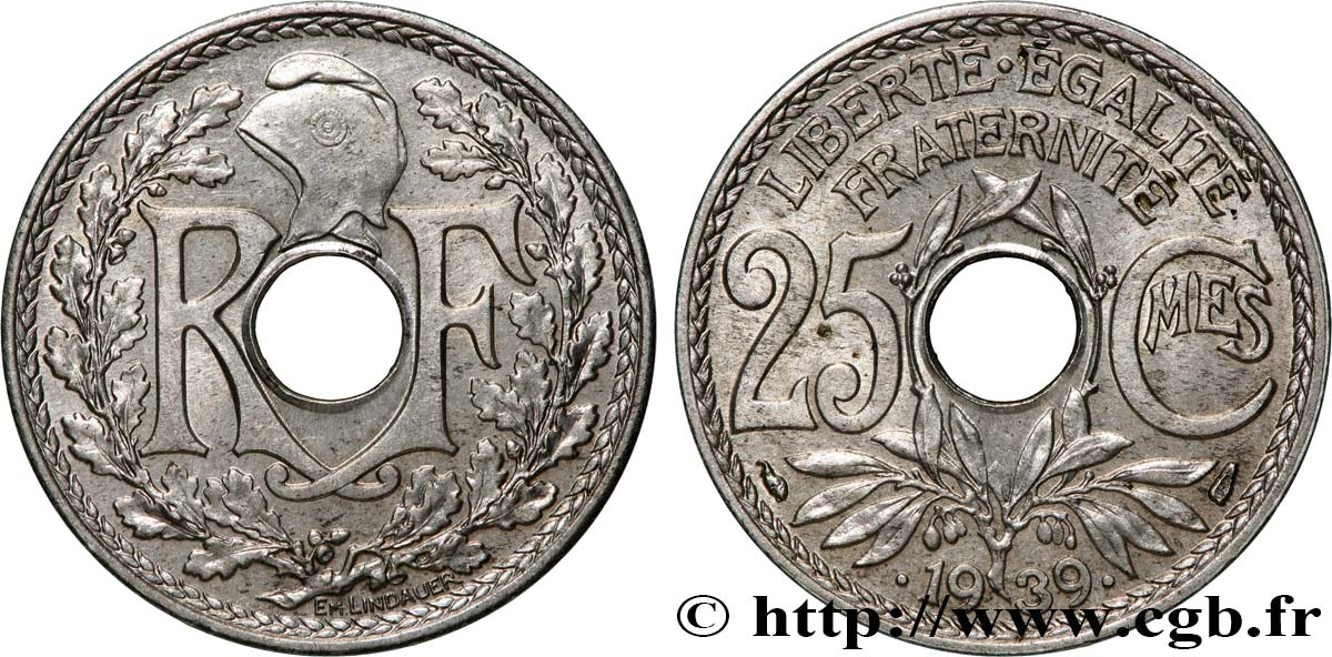 25 centimes Lindauer, maillechort 1939  F.172/3 MS62