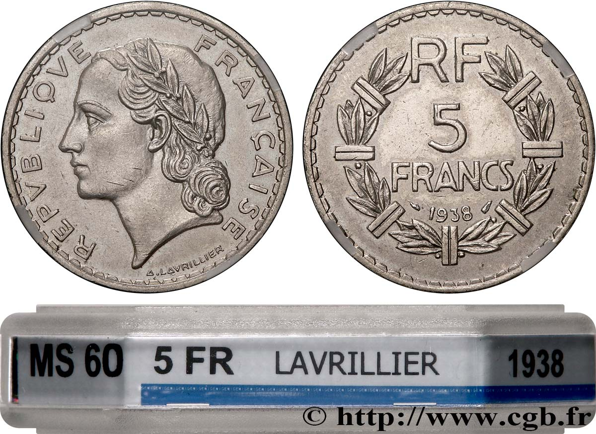 5 francs Lavrillier, nickel 1938  F.336/7 SUP60 GENI