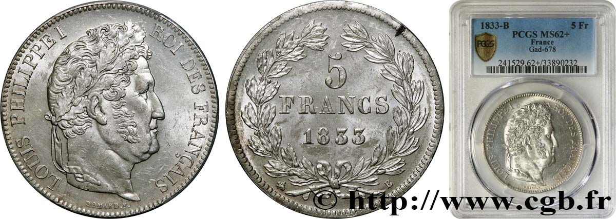 5 francs IIe type Domard 1833 Rouen F.324/15 SUP62 PCGS