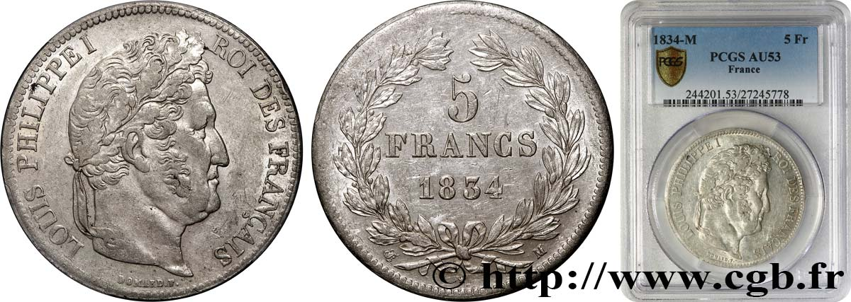 5 francs IIe type Domard 1834 Toulouse F.324/37 TTB53 PCGS