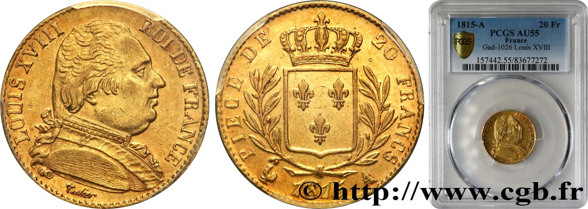 20 francs or Louis XVIII, buste habillé 1815 Paris F.517/10 SUP55 PCGS