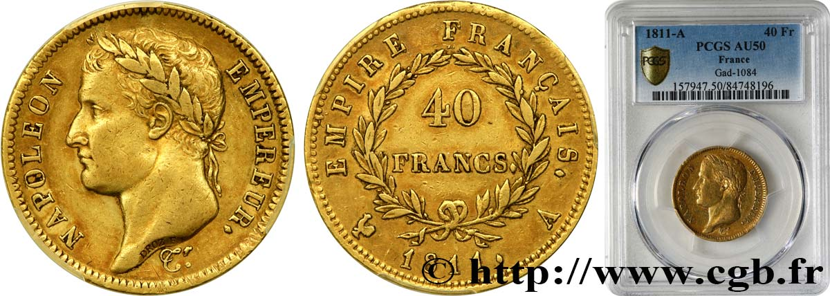 40 francs or Napoléon tête laurée, Empire français 1811 Paris F.541/6 TTB50 PCGS