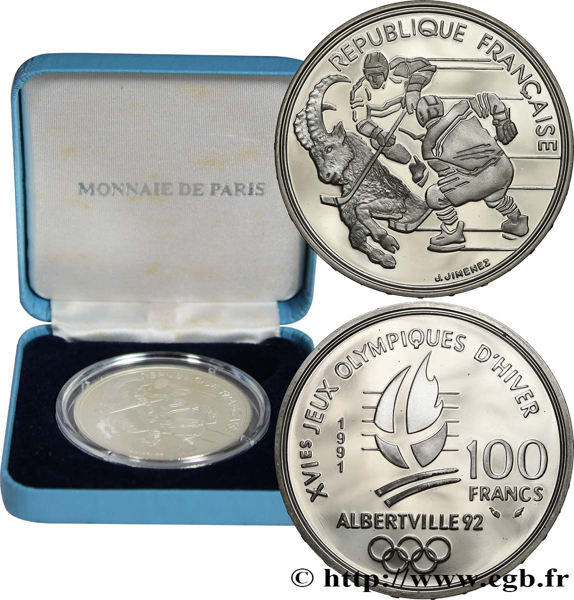 Belle Épreuve 100 francs - Hockey / Bouquetin 1991 Paris F5.1612 1 MS