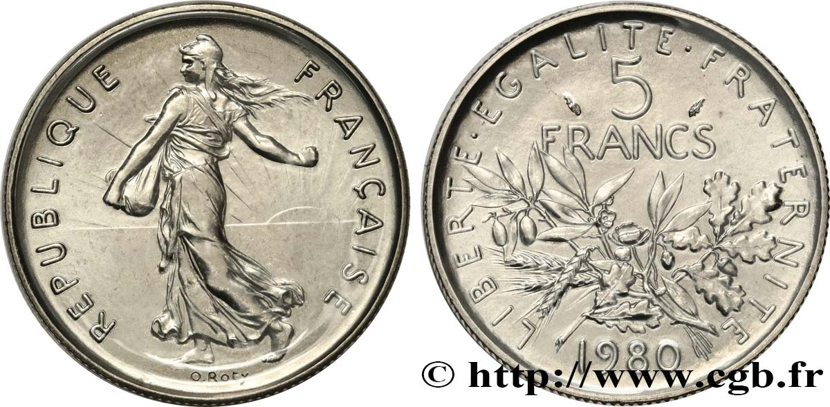 5 francs Semeuse, nickel 1980 Pessac F.341/12 MS
