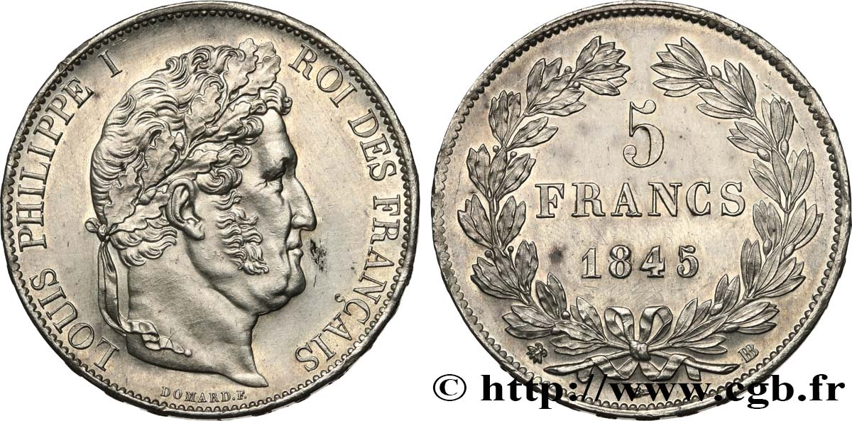 5 francs IIIe type Domard 1845 Strasbourg F.325/7 SUP+