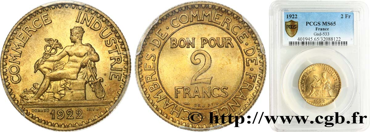 2 francs Chambres de Commerce 1922  F.267/4 MS65 PCGS