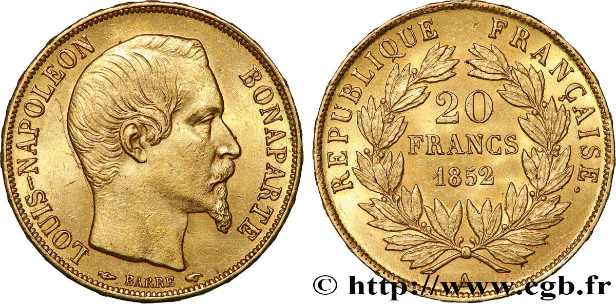 20 francs or Louis-Napoléon 1852 Paris F.530/1 SUP62