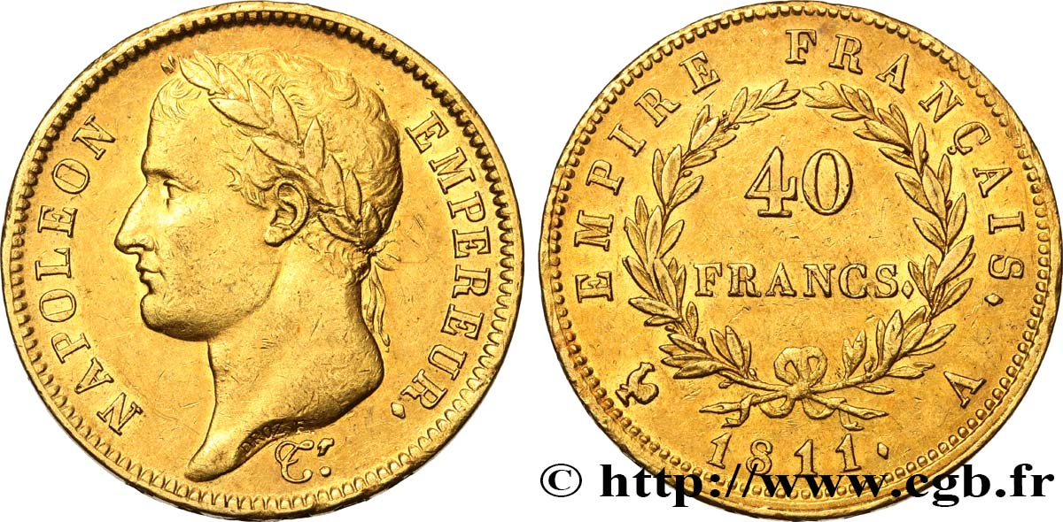 40 francs or Napoléon tête laurée, Empire français 1811 Paris F.541/6 TTB53