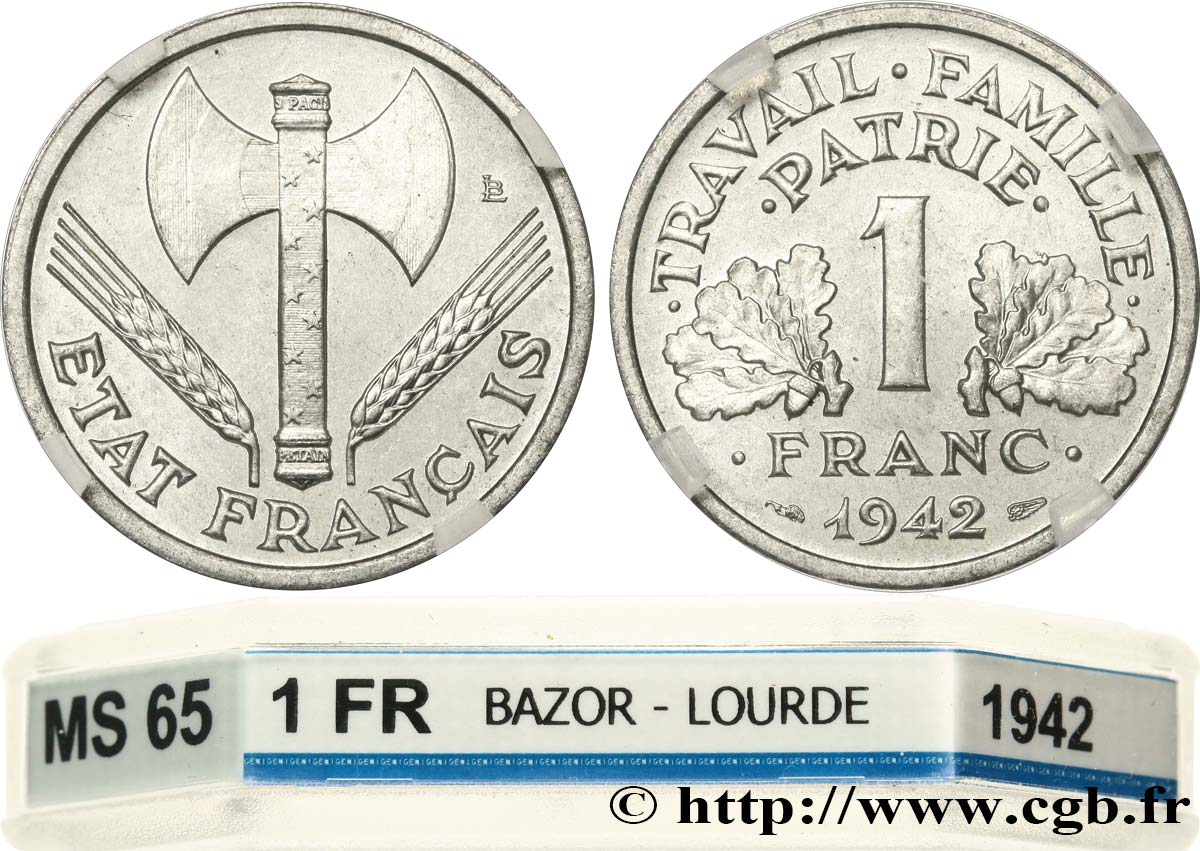 1 franc Francisque, lourde 1942 Paris F.222/2 FDC65 GENI