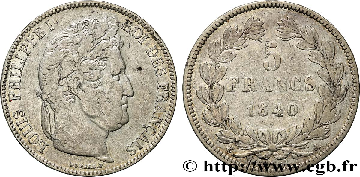 5 francs IIe type Domard 1840 Paris F.324/83 TB35